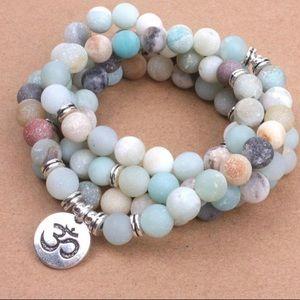 Jewelry - Amazonite Beads with OM Charm Yoga 108 Mala